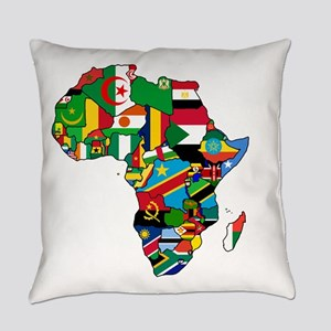 Flag Map of Africa Everyday Pillow