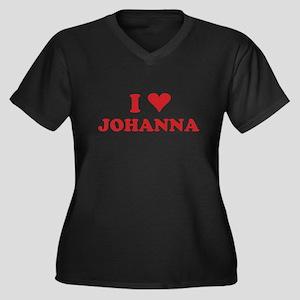 I LOVE JOHANNA Women's Plus Size V-Neck Dark T-Shi