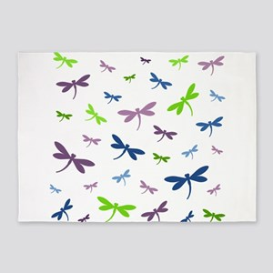 Purple, Green, and Blue Dragonflies 5'x7'Area Rug