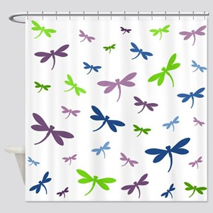 Purple, Green, and Blue Dragonflies Shower Curtain