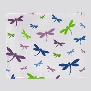 Purple, Green, and Blue Dragonflies Throw Blanket