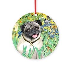 Irises / Pug Ornament (Round)