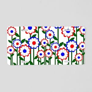Retro Spring Flowers Aluminum License Plate