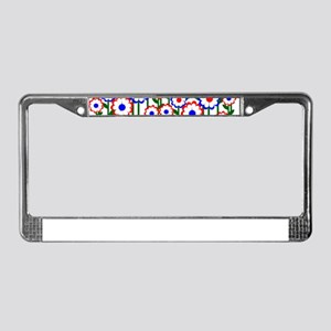 Retro Spring Flowers License Plate Frame