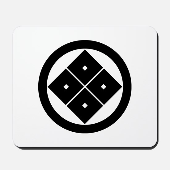 Tilted four-square-eyes in circle Mousepad