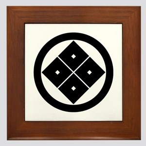 Tilted four-square-eyes in circle Framed Tile
