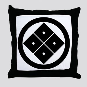 Tilted four-square-eyes in circle Throw Pillow