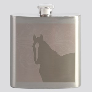 Pink and Brown Country Horse Girl Flask