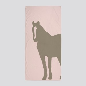 Pink and Brown Country Horse Girl Beach Towel