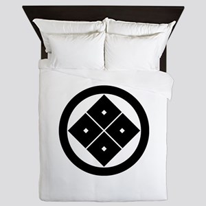Tilted four-square-eyes in circle Queen Duvet