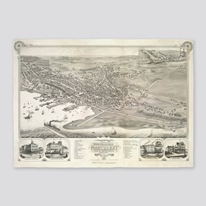 Vintage Pictorial Map of Nantucket  5'x7'Area Rug