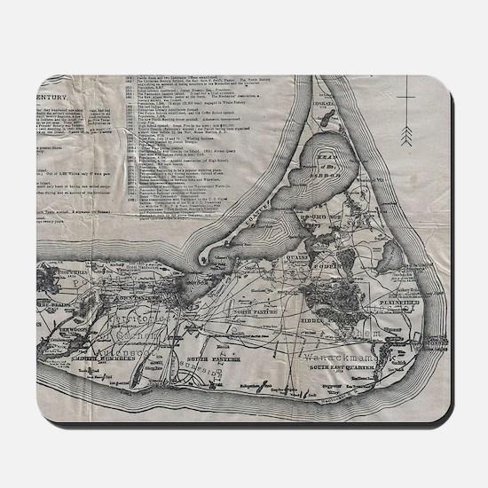 Vintage Nantucket Map Mousepad