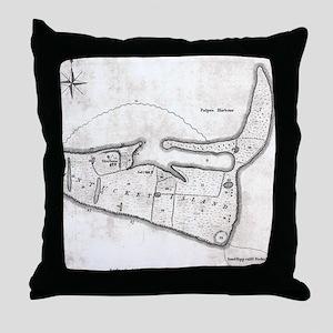 Vintage Map of Nantucket (1782) Throw Pillow