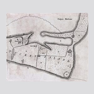 Vintage Map of Nantucket (1782) Throw Blanket