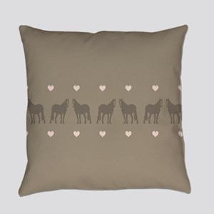 Pink and Brown Country Horse Girl Everyday Pillow