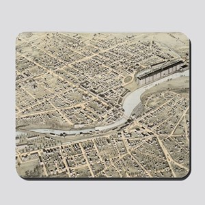 Vintage Pictorial Map of Nashua NH (1875 Mousepad