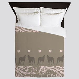 Pink and Brown Country Horse Girl Queen Duvet