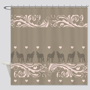 Pink and Brown Country Horse Girl Shower Curtain