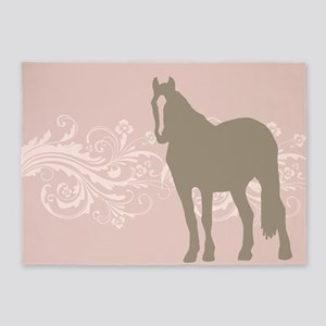 Pink and Brown Country Horse Girl 5'x7'Area Rug