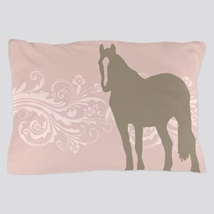 Pink and Brown Country Horse Girl Pillow Case