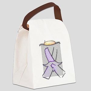 Purple Ribbon Moustache© Canvas Lunch Bag