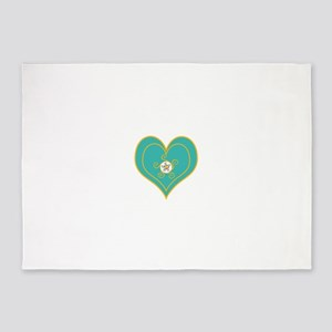 Turquoise and Gold Heart 5'x7'Area Rug