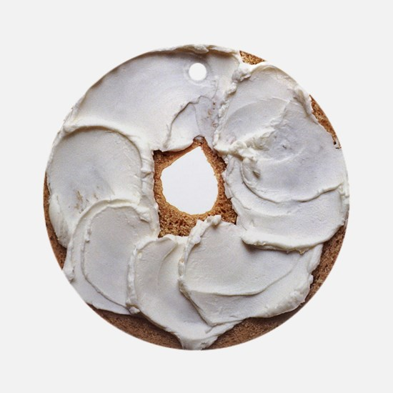 Bagel with Cream Cheese Round Ornament