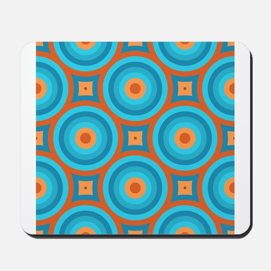 Orange and Blue Mid Century Modern Mousepad