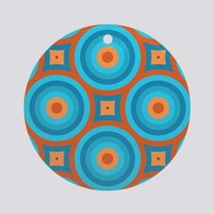 Orange and Blue Mid Century Moder Ornament (Round)