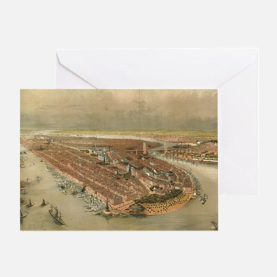 Vintage Pictorial Map of New York Ci Greeting Card
