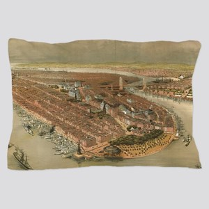 Vintage Pictorial Map of New York City Pillow Case