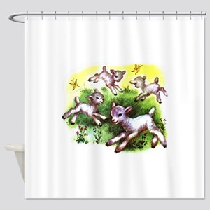Happy Baby Lambs At Play Shower Curtain