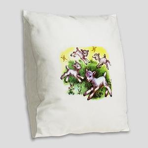 Happy Baby Lambs At Play Burlap Throw Pillow