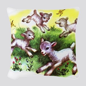 Happy Baby Lambs At Play Woven Throw Pillow