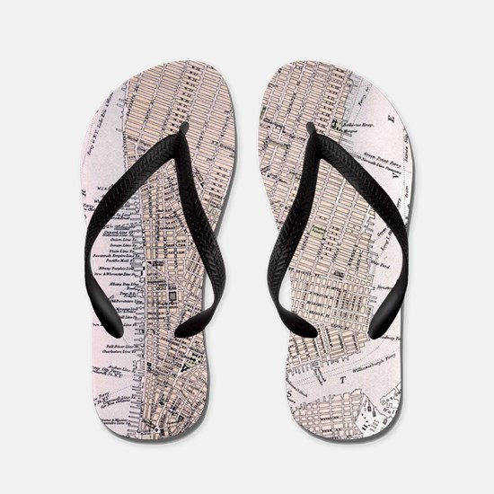 Vintage Map of New York City (1884) Flip Flops
