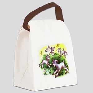 Happy Baby Lambs At Play Canvas Lunch Bag