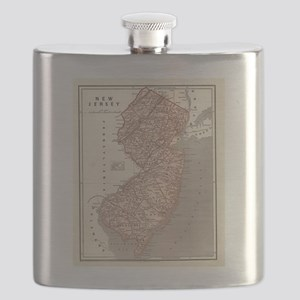 Vintage Map of New Jersey (1845) Flask