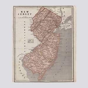 Vintage Map of New Jersey (1845) Throw Blanket