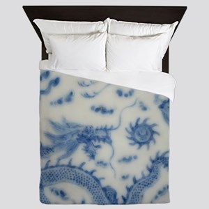 blue and white chinoiserie delft vinta Queen Duvet