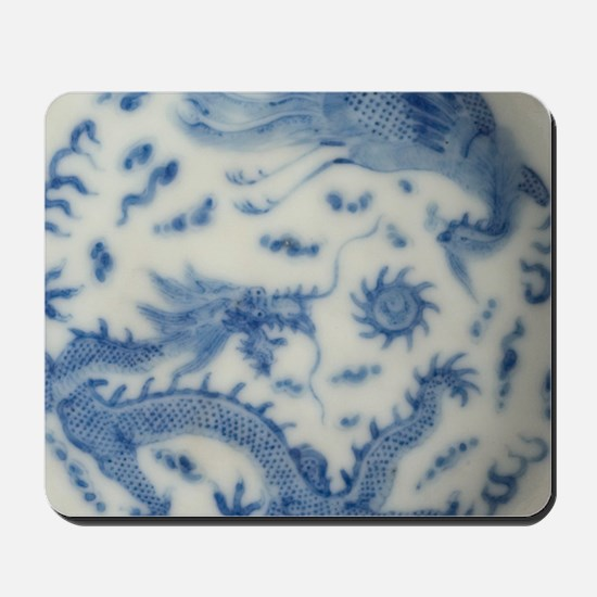 blue and white chinoiserie delft vintage Mousepad