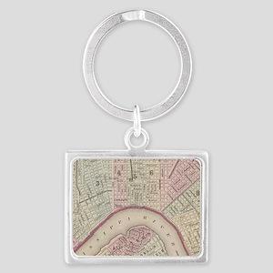 Vintage Map of New Orleans (188 Landscape Keychain