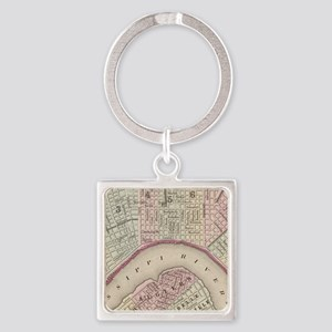 Vintage Map of New Orleans (1880) Square Keychain