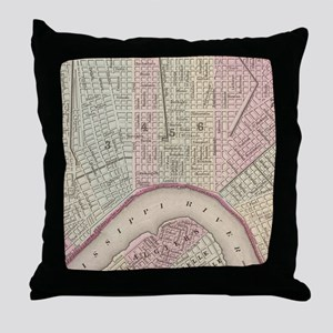 Vintage Map of New Orleans (1880) Throw Pillow
