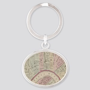 Vintage Map of New Orleans (1880) Oval Keychain