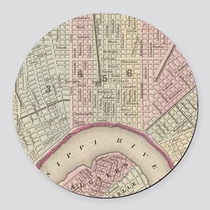 Vintage Map of New Orleans (1880) Round Car Magnet