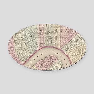 Vintage Map of New Orleans (1880) Oval Car Magnet