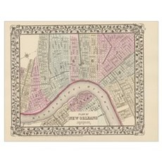 Vintage Map of New Orleans (1880) Poster