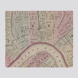 Vintage Map of New Orleans (1880) Throw Blanket