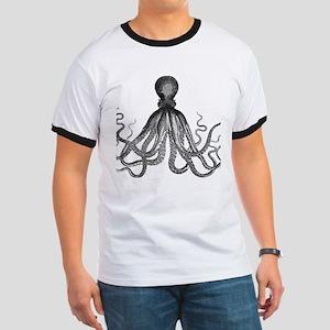 vintage kraken octopus sea creature monst Ringer T