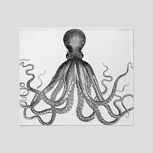 vintage kraken octopus sea creature  Throw Blanket